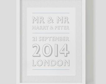 "Personalised Mr & Mr gay wedding poster / print — civil partnership  —  date / marriage ""retro"""