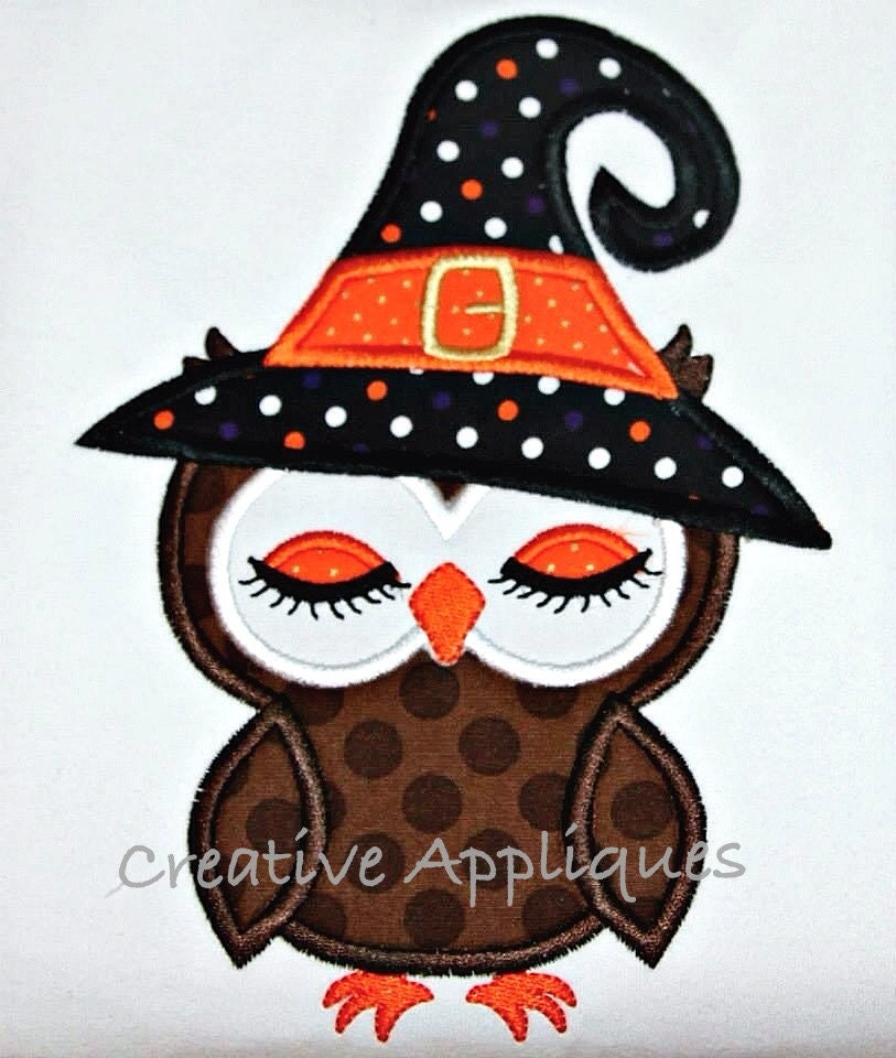 Witch owl halloween machine embroidery by creativeapplique