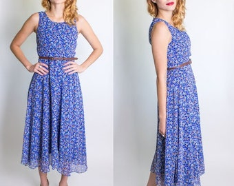 Vintage 1990's Floral Print Dress / Grunge / Chiffon / Zip Back/ Fully Lined / Sleeveless / Size Small