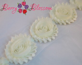 Large 10 pc Ivory 3 inch shabby frayed flower - Big chiffon shabby rosette trim