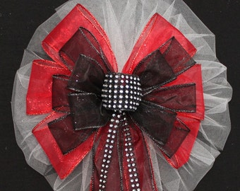 Bling Red Black Sparkle Wedding Pew Bow - Church Pew Decorations, Wedding Aisle Decorations, Wedding Ceremony Bow, Wedding Chair Bows
