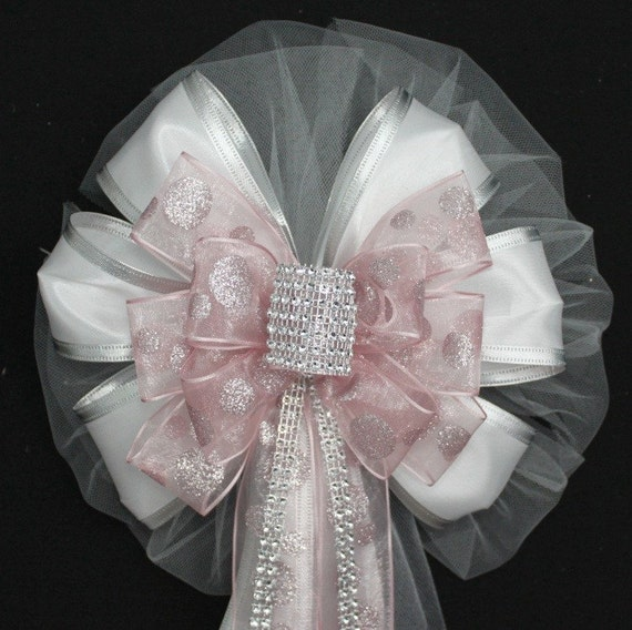 Church Wedding Aisle Decoration Ideas: Items Similar To Blush Pink Bling Dot Wedding Pew Bows
