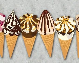 Ice cream clipart, ice cream cones clipart, ice cream party, digital clipart instant download. png transparent background, scrapbooking