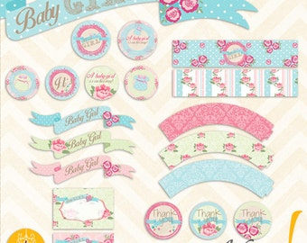 Shabby Chic Baby Girl Shower Printable Party