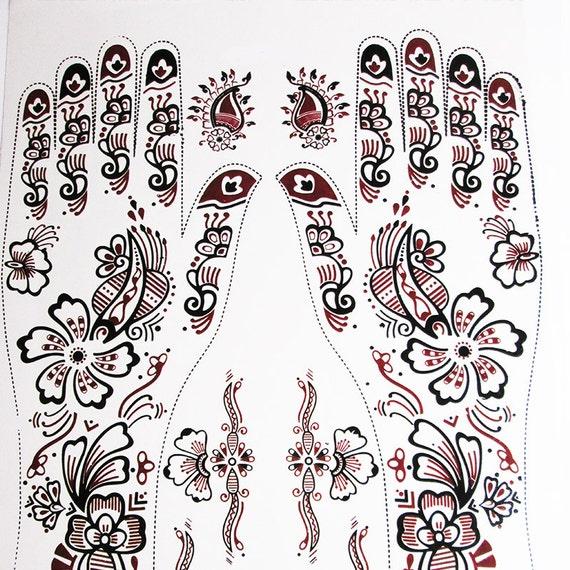 Mehndi Tattoo Stickers : Unique hand henna tattoo sticker mehndi by