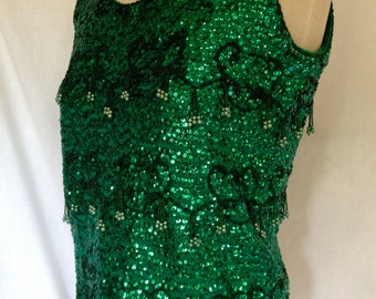 Elegant Vintage 1960's/ 60s Emerald Green Wool Knit Tank/Shell with Sequins and Beading