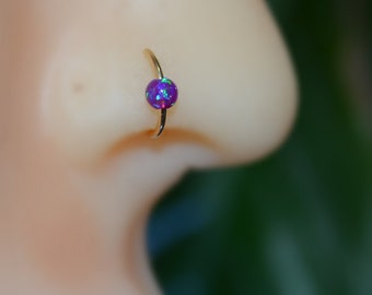 3mm Opal Nose Ring - Silver Nose Hoop - Rook Piercing - Cartilage Earring - Tragus Earring - Daith Ring - Helix Hoop - Nose Piercing 20g