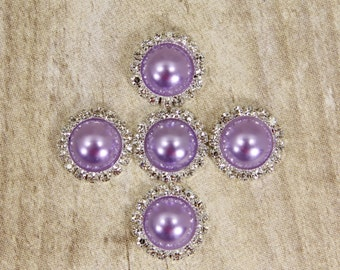 Lavender Pearl and Rhinestone Buttons- (5) Lavender Buttons With Brilliant Clear Surrounding Rhinestones 21mm
