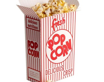 50 Retro Style Popcorn Boxes,  Red and White, Resealble Top, Party Favor Box, Movie Theme Party Favor Box, Wedding Favor Boxes