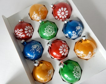 Stenciled Glass Christmas Ornaments - Set of 10 Ornaments by Noelle - Made in the U.S.A.