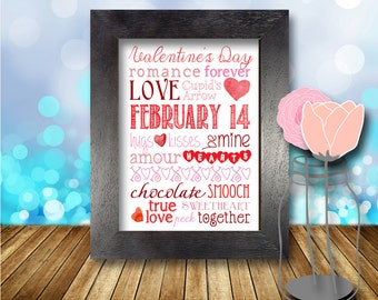 Valentines Day, Love Print, Color Options, Home Decor, Printable, Valentine's Day, Typography, 8x10, Instant Download, Holiday Printable