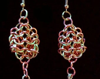medieval: chainmaille dangle earrings - in brass & copper featuring hand-wrapped garnet beads