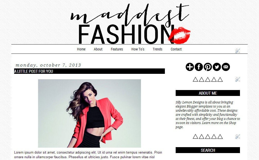 Fashion Blogger Templates Maddest Fashion A Premade Blogger Template by ...