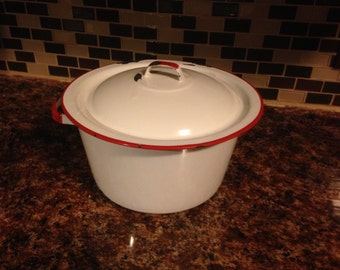 Vintage Red and White Enamel Cooking Pot with Lid