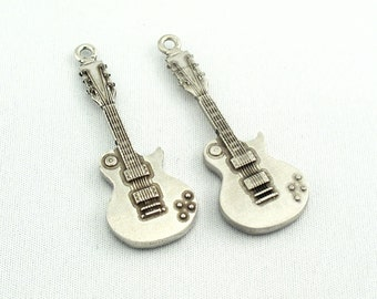 Electric Guitar Charms Pendant Findings, Lead Free Pewter Metal SKU#PMS0002 QTY:3