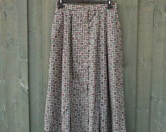 Vintage High Waist Green Skirts Raspberry Print Vintage Button Up Pockets Picnic Cotton Skirts Large Size