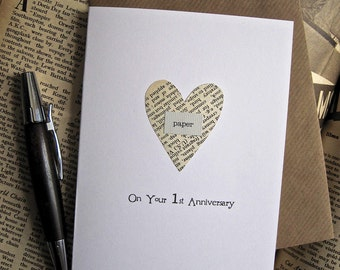 1 Year Anniversary Gifts For Husband Paper : to 1st Anniversary Keepsake Card Husband Wife. Genuine Vintage PAPER ...