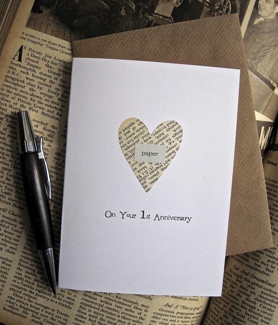 1st Wedding Anniversary Gifts For Husband: Items Similar To 1st Anniversary Keepsake Card Husband