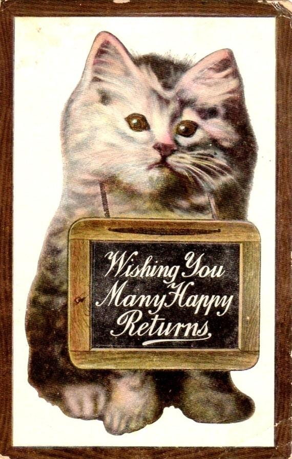 vintage birthday cats cat - photo #5