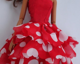 11.5 inch dolls clothes - red polkadot dress (70)