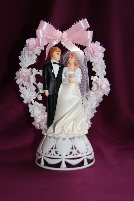 Vintage Kitsch 1970s Wedding Cake Topper Red Head Bride and Groom