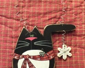 Black Tuxedo Cat Ornament and Magnet with Dangling Snowflake