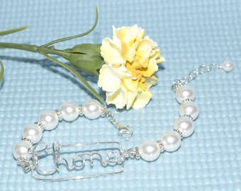 Adjustable Wire Name Pearl Bracelet - Valentine's  Gift