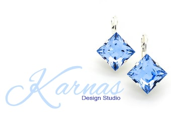LIGHT SAPPHIRE 12mm Square Drop Leverback Earrings Made With Swarovski Elements *Pick Your Finish *Karnas Design Studio *Free Shipping*