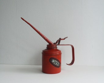 Vintage Oil Can British Wesco Stunning Red Vintage Industrial Item