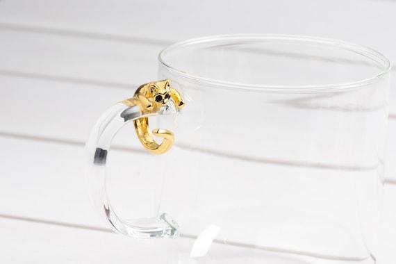 Cat Hugger adjustable ring with black crystal eyes