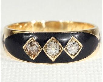 Antique Victorian Diamond and Enamel Memorial Ring, 18k Gold c.1885