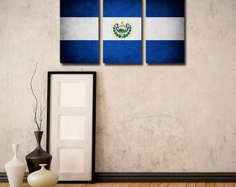 The Original El Salvador Flag Triptych