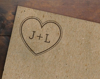 Heart Monogram Stamp • Personalized Initials Stamp • Custom Name Stamp • Wedding Anniversary Engagement Gift • Rubber Stamp • Made to Order