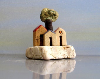Miniature ceramic houses on a natural white stone , rustic houses / for him / for her / home decor / Christmas gift / handmade ceramics