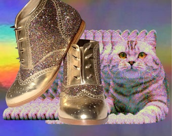 BDG pastel goth metallic gold paisley booties sparkly soft grunge rainbow glitter gold spikes 90s seapunk club kid rave boots flats