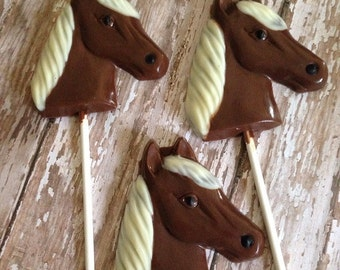 12 Chocolate Horse Lollipops Rodeo Farm Birthday Party Favors Pony