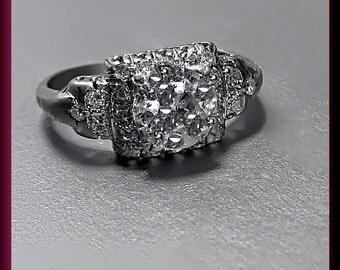 Antique Vintage Art Deco 18K White Gold Old European Cut Diamond Engagement Ring Wedding Ring - ER 413M