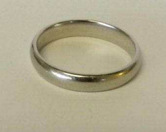 Size 9 7/8 14k White Gold 4mm Wedding Band Ring Comfort Smooth GS1470