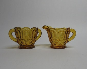 Amber Moon and Star Creamer and Sugar Bowl Set ~ L E Smith Glass ~