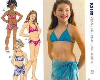 Sewing Pattern - Girls' Swimsuits & Wrap Pattern, Kwik Sew #K3165