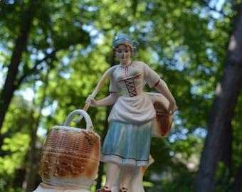 Peasant Women, Romanian Figurine, Farmhouse Decor, Cottage Chic, Working Women, Bisque Porcelain, Rare Art, Bohemian Figurine
