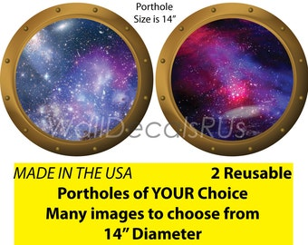 Space Decals,Outer Space Wall Decals,Outer Space Wall Murals,Porthole Window,Outer Space Stickers,Stars Wall Decor, S7S10
