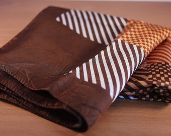 Vintage Brown, Beige and White Stripes Scarf from the 1970's