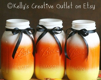 Halloween decor - Halloween candy corn mason jar - Thanksgiving Centerpiece - Halloween Decorations - Fall Decor - Halloween Wedding decor