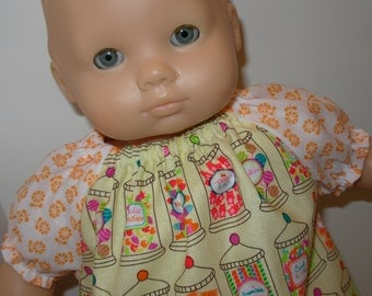 """15 inch Bitty Baby Clothes, Cute """"CANDY Peasant Dress, Fits  BOTH 18"""" Dolls and 15"""" AG Bitty Baby / Twin Doll, Candy Jars, Everyone L Candy!"""