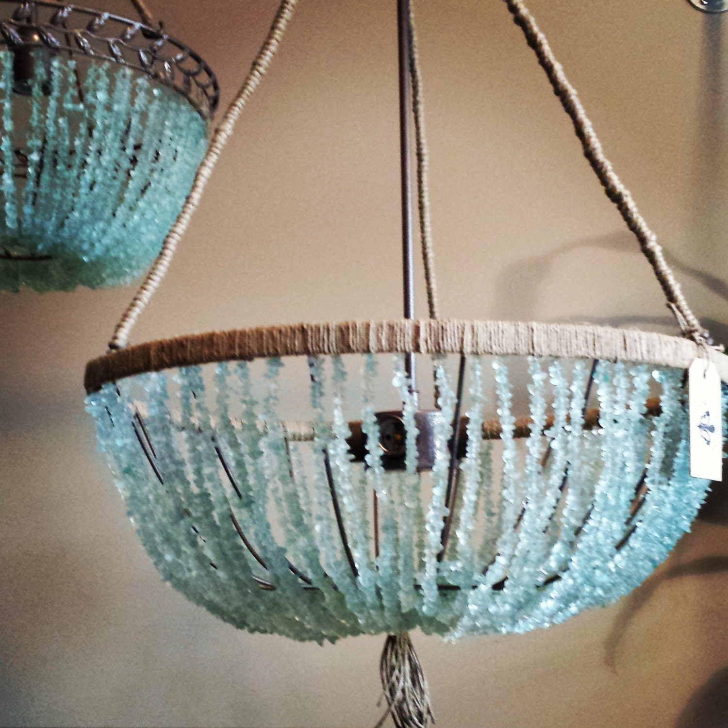 20 open sea glass chandelier by aucourantinteriors on etsy - Chandelier glass beads ...