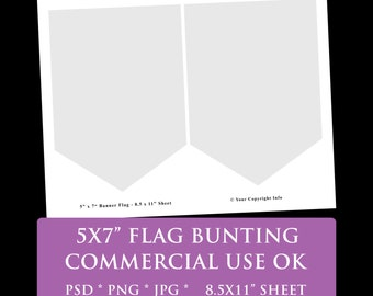 "flag banner party bunting digital template 8.5 x 11"" 5 x 7"" flag party printable template psd png Commercial Use Personal pennant banner"