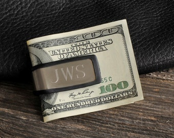 Personalized Money Clip - Personalized Rubber Grip Money Clip - Engraved money clip - Gifts for Him - Groomsmen Gifts -  (830)