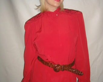 Vtg 80's WINE red EMBROIDERED blouse S
