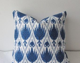 Blue Ikat Pillow Cover 18x18 20x20 Decorative Throw Pillow, Accent Pillow, Toss Pillow
